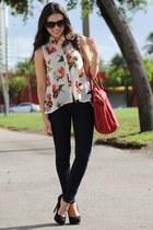 black furor moda sunglasses - navy Forever 21 jeans - cream romwe shirt