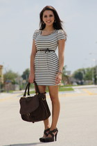 ivory Forever 21 dress - dark brown Mimi Boutique bag - dark brown Forever 21 he