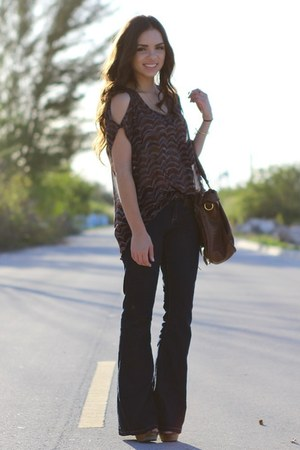 brown Steve Madden wedges - navy Forever 21 jeans - brown Mimi Boutique bag