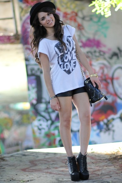 white Forever 21 shirt - black litas Jeffrey Campbell shoes