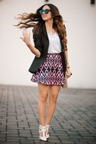 hot pink Motel Rocks skirt - white HAUTE & REBELLIOUS shoes - black Zara blazer
