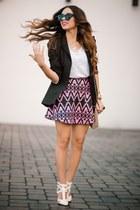 hot pink Motel Rocks skirt - white HAUTE & REBELLIOUS shoes - black Zara blazer