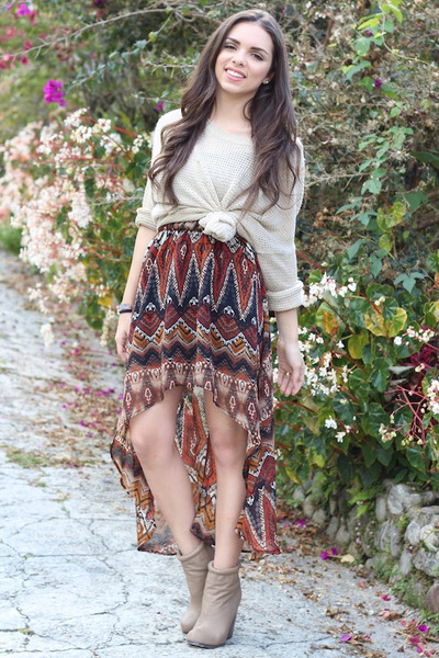 beige causeway mall sweater - tan Forever 21 boots - tawny here j dress