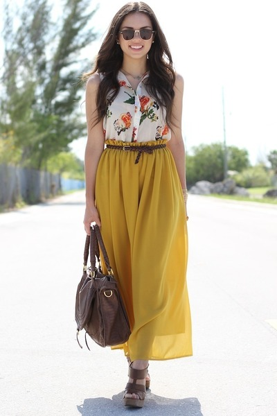 mustard maxi romwe skirt - brown mia shoes shoes - brown Mimi Boutique bag