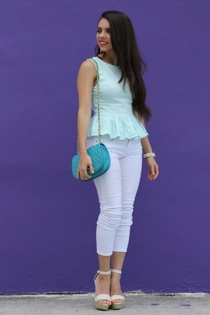 light blue peplum beginning boutique top - beige Love Shopping Miami shoes