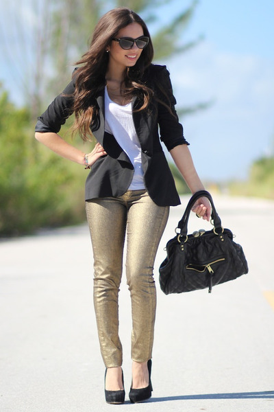black Zara blazer - gold MNG by Mango jeans - white Forever 21 shirt