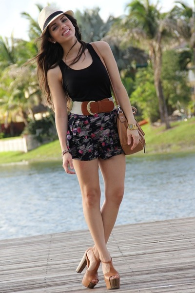 black Forever 21 shorts - tawny Jessica Simpson shoes - beige Agaci hat