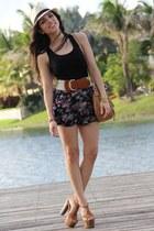 black Forever 21 shorts - tawny Jessica Simpson shoes - beige Agaci hat