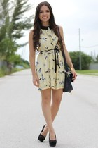 navy Mimi Boutique bag - light yellow Zara dress - black Payless wedges