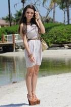 tan Shop Ruche dress - gold Mimi Boutique bag - burnt orange Jessica Simpson hee