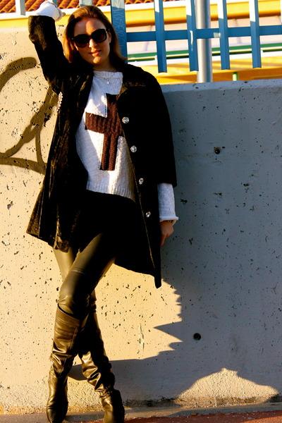 Sergio Rossi boots - Love sex money coat - Primark sweater - dior sunglasses