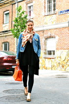 pull&bear scarf - Topshop dress - Pepe Jeans jacket - Calzedonia leggings
