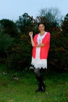 Zara skirt - Jil Sander boots - Topshop cardigan