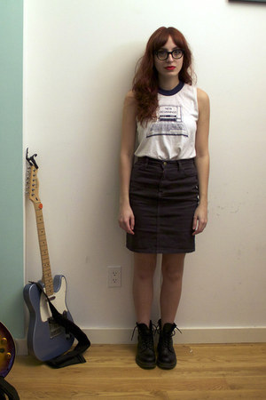 black Dr Martens boots - white vintage shirt - navy denim American Apparel skirt