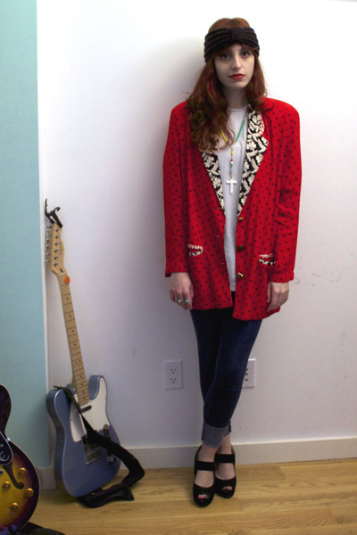 red vintage blazer - blue BDG jeans - white shirt