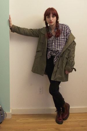 crimson Dr Martens boots - army green military trench nastygal jacket - navy pla