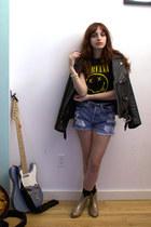 gold glitter vivienne westwood boots - black vintage jacket - black Nirvana shir