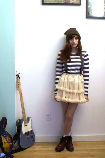 crimson Dr Martens boots - white striped sweater - peach petticoat American Appa