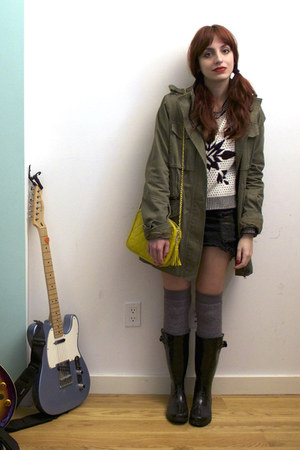 army green trench Nasty Gal jacket - black rain boots