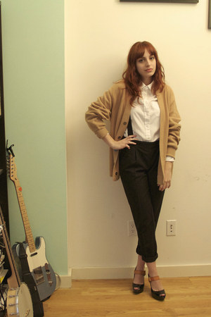 white oxford Urban Outfitters shirt - tan vintage Neiman Marcus cardigan - black