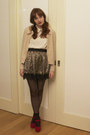 Black-h-m-socks-light-pink-h-m-cardigan-light-brown-silk-asos-skirt-white-
