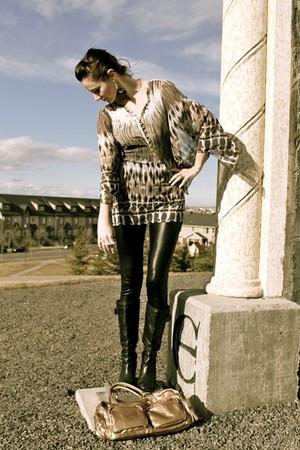 black Nine West shoes - light brown Esprit blouse - black winners leggings - lig