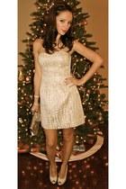 ivory American Eagle dress - ivory Walmart heels - silver Aldo purse - silver sw