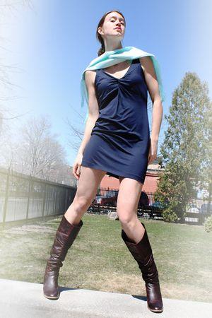 Shoegasm boots - H&M dress - blue K Design scarf