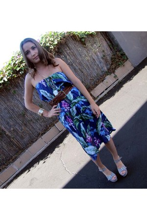 amethyst hawaiian print vintage dress dress - periwinkle PH wedges