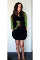 green cardigan - black Forever 21 skirt