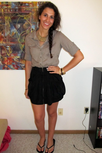 button up Forever 21 shirt - Forever 21 necklace - zippered Forever 21 skirt - b