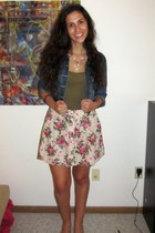 blue jean jacket - olive green Forever 21 shirt - beige floral print Forever 21 