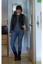 black leather H&M vest