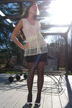 beige Charlotte Russe blouse - pink Wet Seal top - black H&M skirt - black Icing
