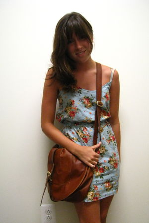 blue lucca couture dress - brown H&M bag