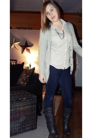 heather gray I heart ronson cardigan - light blue Forever 21 shirt - pink vera w