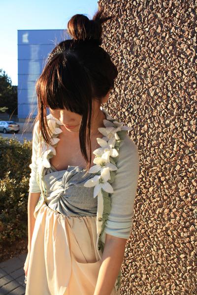 blue Anthropologie cardigan - beige wilfred skirt - Silence&Noise top