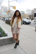 Dr Martens boots - tencel H&M shorts - diy armani blouse - fuzzy Forever 21 vest