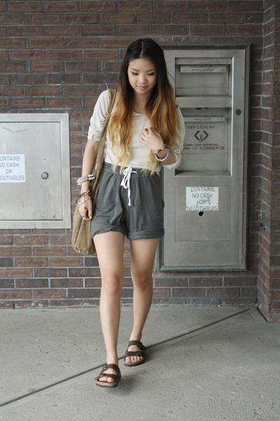 ad95f8871a3 lounge H M shorts - DKNY shirt - suede H M bag - Birkenstock sandals
