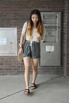 lounge H&M shorts - DKNY shirt - suede H&M bag - Birkenstock sandals
