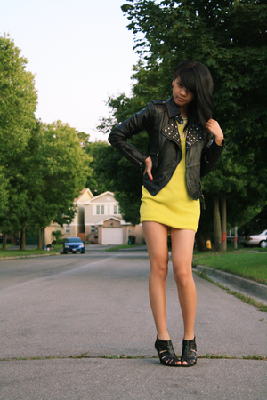 gold FCUK dress - black Zara jacket - black Aldo shoes