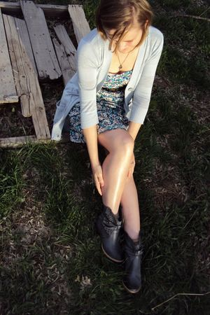 blue American Eagle dress - gray definitely cardigan - gray charles albert boots