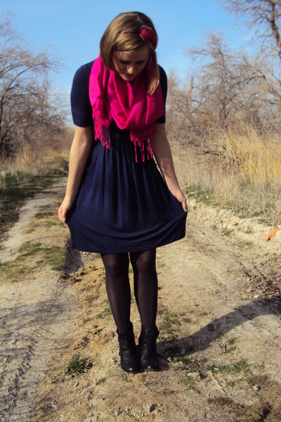 blue Lush dress - gray Target tights - black Madden Girl boots - pink scarf - pi