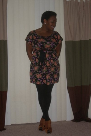 Wet Seal dress - tights - Qupid shoes - Garage Sale earrings