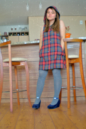 blue Melissa shoes - blue dress - silver tights