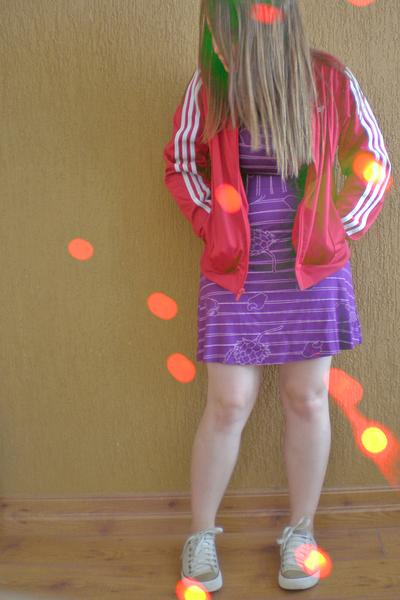 purple Malwee dress - red adidas jacket - beige Converse shoes