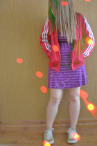 purple Malwee dress - red adidas jacket - beige Converse shoes