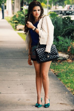 shoes - blazer - Chanel bag - BCBG shorts