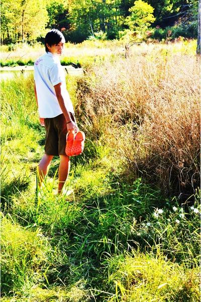 white Heritage 1981 shirt - Old Navy shorts - Crocs shoes - Old Navy cardigan -