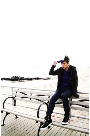 green FingerXX hat - blue Ralph Lauren top - navy Comune pants - gray H&M jacket